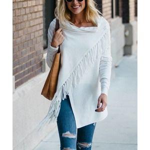 Zulily Soft Ivory Fringe Wrap Cardigan Sweater